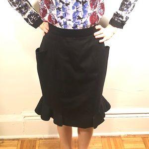 Carolina Herrera Black Wool Trumpet Skirt 6